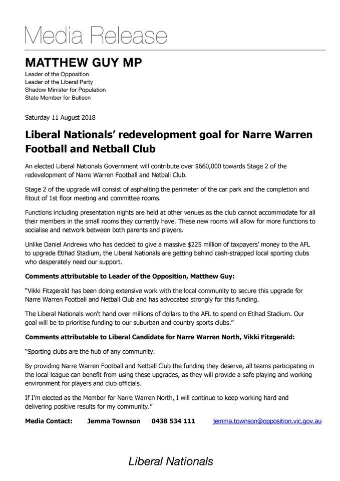 Liberals Nationals' to contribute $660,000 to NWFNC Development