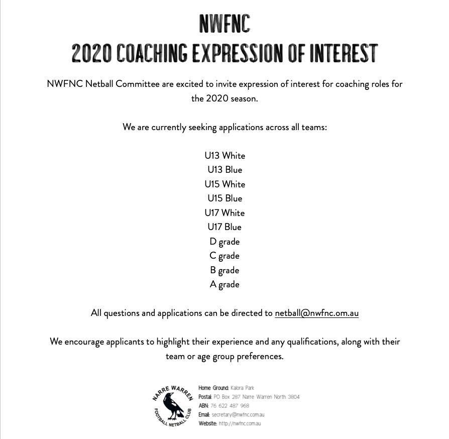 2020 Netball Coaching Expression of Interest