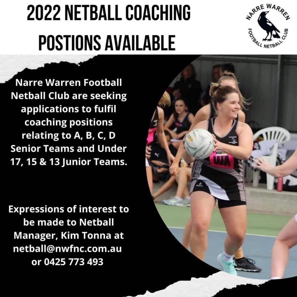 2022 NETBALL COACHING POSITIONS AVAILABLE