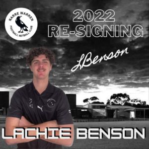 First signing for 2022  We welcome back youngster Lachlan Benson to the club for another season, we can't wait to see him and the boys back on the field next year