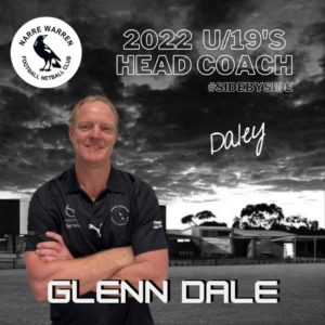 We welcome Glenn Dale to the club as the under 19's coach for 2022. Glenn has a distinguished playing and coaching career having been senior coach of the Emerald, Berwick, Lang Lang footy clubs as well as assistant coaching roles at the Casey Scorpions.  We are very fortunate to have the future stars of the NWFNC in Glenn's hands for 2022. Welcome 🖤🤍