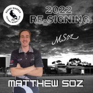 Back to player signings! Next up we have Matt Soroczynski signing on for season 2022  Get ready to see plenty of long sleeve action from the backline!