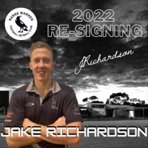We welcome back a player from the 2021 leadership group- Jake 'Richo' Richardson!  Richo has signed on for season 2022 and his leadership & ability to play all over is a big attribute to the team - love to see it