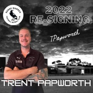 Trent Papworth has signed on for another season with the black and white 🖤🤍 With still plenty to offer on (& off) the field, we look forward to plenty of entertainment from the man himself in 2022