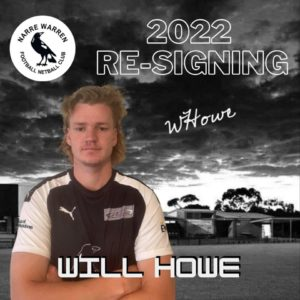 Coming up from the U19s we have Will Howe joining the senior playing group! 🤩 *WILL* (high pitched scream, you know the go) will fit in nicely with the team as he is a key position player, having the flexibility to play anywhere across the field. We look forward to watching him grow in his footy journey & becoming a long time senior player for the club 🖤🤍 #narrelove